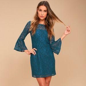 BB Dakota Bell Sleeve Lace Blue Boho Dress